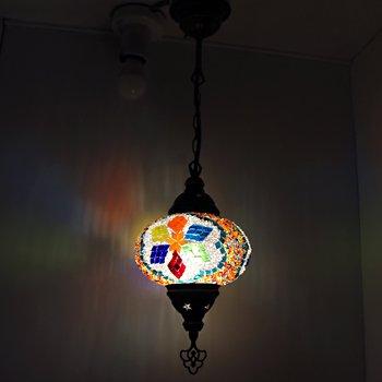 トルコのハンギングランプ(シーリング) M イエロー&クリア カラフルフラワー