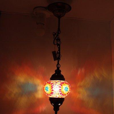 トルコのハンギングランプ(シーリング)S ターコイズブルー&カラフルフラワー