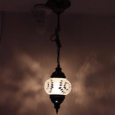 トルコのハンギングランプ(シーリング)S クリア&シルバーフラワー