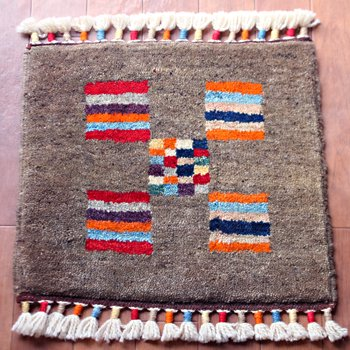 トルコ絨毯 NEW 座布団サイズ グレー&カラフルストライプ