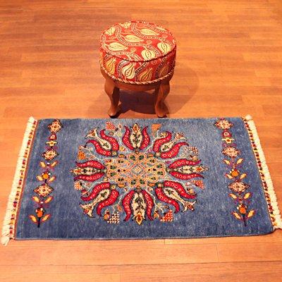 トルコ絨毯 NEW 63×105 ラグ 玄関マット ターコイズブルー&レッドチューリップ