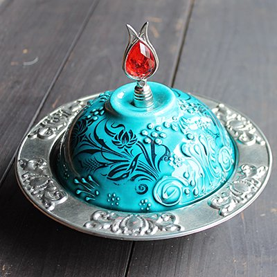 トルコ☆キュタフヤ陶器の小物入れ グリーン&シルバー