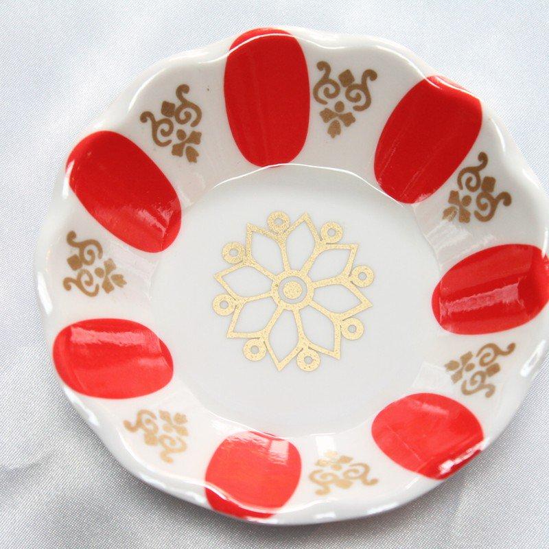 チャイグラス用ソーサー ホワイト&レッド