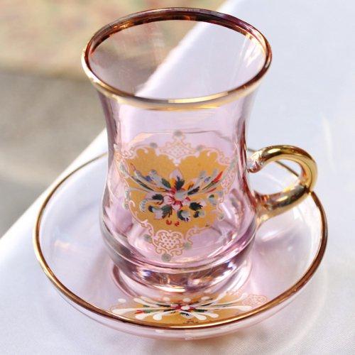 トルコのチャイグラス&ソーサー ピンク&ゴールド装飾 取っ手付き