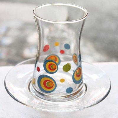トルコのチャイグラス&ソーサー カラフルナザールボンジュウ
