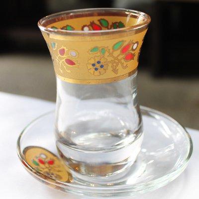 トルコのチャイグラス&ソーサー  ゴールドカーネーション&赤チューリップ 横