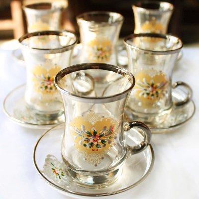 【アウトレットSALE】トルコのチャイグラス&ソーサー【6客セット】イエロー&シルバー 装飾 取っ手付き