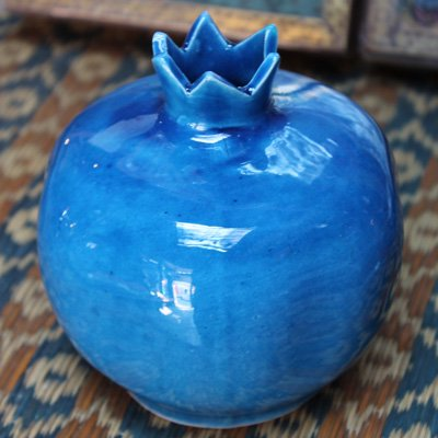 キュタフヤ陶器のザクロ一輪挿し L  ブルー