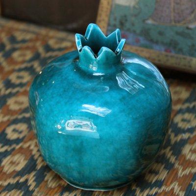 キュタフヤ陶器のザクロ一輪挿し M グリーン