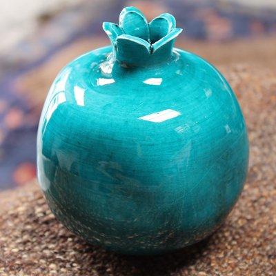 キュタフヤ陶器のザクロ一輪挿し L グリーン