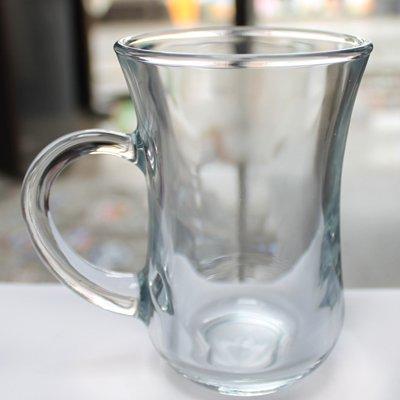 トルコのチャイグラス プレーンL 無地取っ手付き