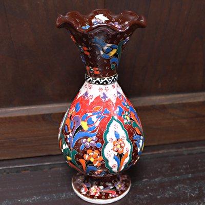 トルコ☆キュタフヤ陶器の飾り壺 ブラウン&レッド