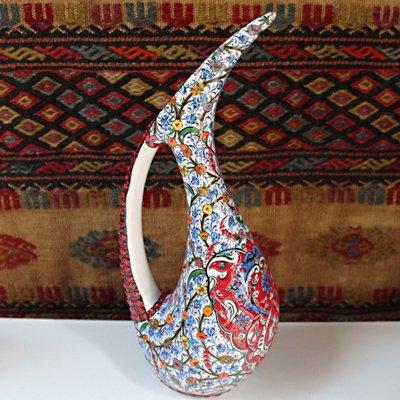 トルコ☆キュタフヤ陶器の飾り壺 鳥型 ホワイト&レッド 青小花