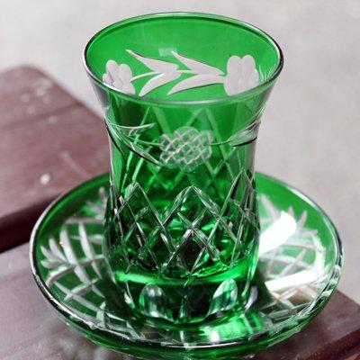 トルコのチャイグラス&ソーサー 切子 グリーン
