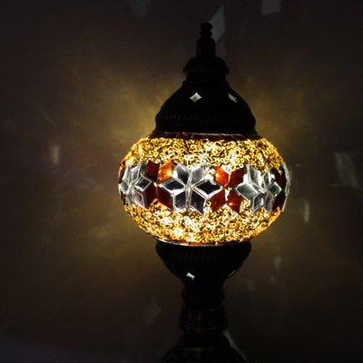 トルコのスタンドランプSS (直立) 電池式LED ブラウン&シルバーフラワー