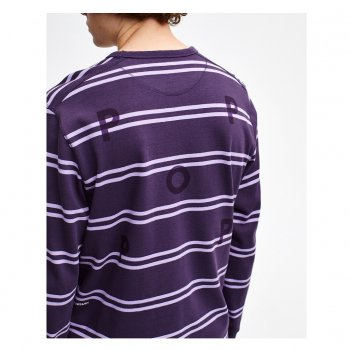 POP TRADING COMPANY STRIPED LOGO LONGSLEEVE DARK PURPLE/VIOLET