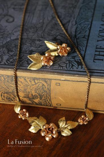 Krementz*クレメンツ 14金ゴールドフィルド バラの花のネックレス&イヤリングセット