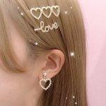 ハートヘアピンセット/3ハート&LOVE
