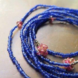 糸 レッドスピネル 藍色 ネックレス