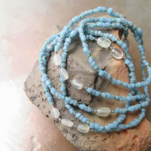 糸 ムーンストーン 水色 ネックレス