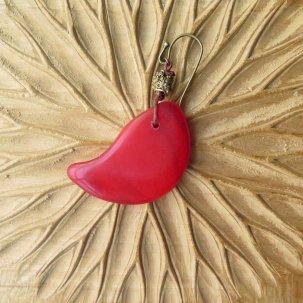 icco ウェディングビーズ 赤 + 真鍮 ピアス&イヤリング