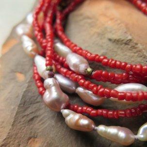 糸 淡水パール 赤 ネックレス