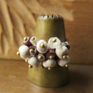 オリッサブラス & 紫シェブロン + 数珠玉 リング