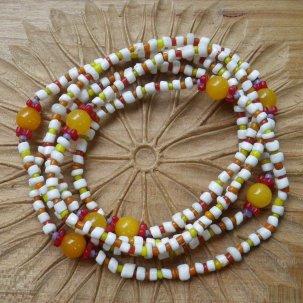 糸 琥珀 白&橙 ネックレス