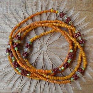 糸 ルチルクォーツ +花 橙 ネックレス
