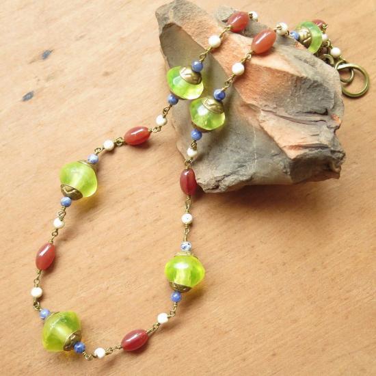 ウランガラス +彩 ネックレス