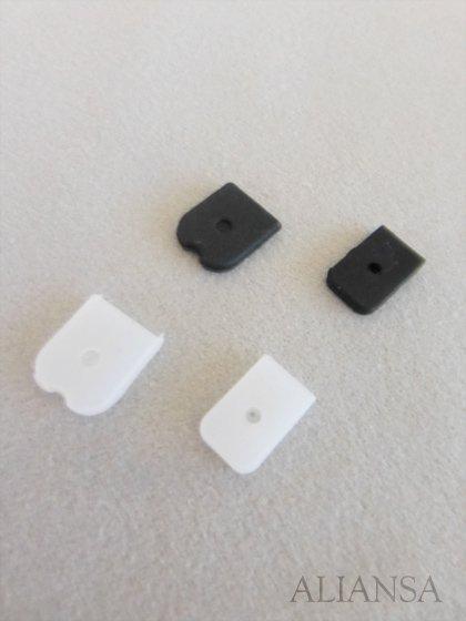 【ドレス用副資材】 ボーンキャップ 8mm幅用 白黒 100個単位 【シリコン製】