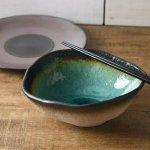 緑彩土の華 20.8cm楕円中鉢