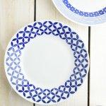 ブルーパターン 24cm少し大きめカレー皿(パスタ皿) シッポウ