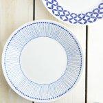 ブルーパターン 24cm少し大きめカレー皿(パスタ皿) ヒナタ