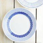 ブルーパターン 24cm少し大きめカレー皿(パスタ皿) サザナミ