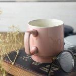 11.5cm塗り分けピンクスタックマグカップ アメ色