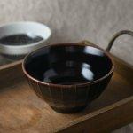 16cm削ぎ縞縁茶丼ぶり 黒