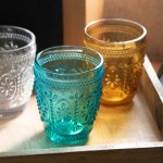 Flowerdropグラス ターコイズ