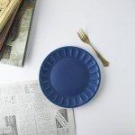 スムースフラワー 18cm皿 ネイビーブルー