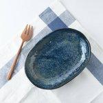 23cmこっくりブルーの楕円皿