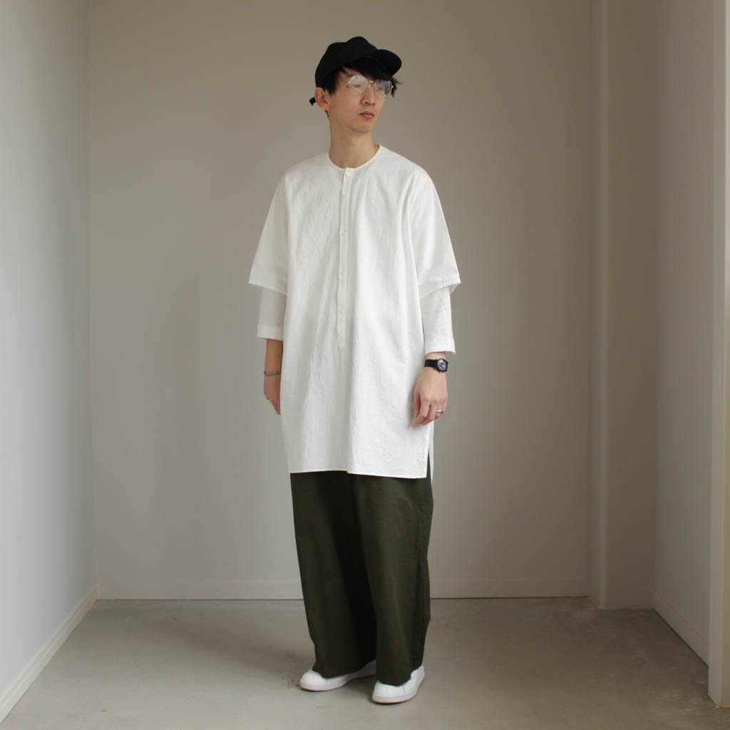 FIRMUM   フィルマム FMPO-S 小釜染めコットンシーチングノーカラーロングビッグH/Sシャツ #OFF WHITE [S7-F065S]