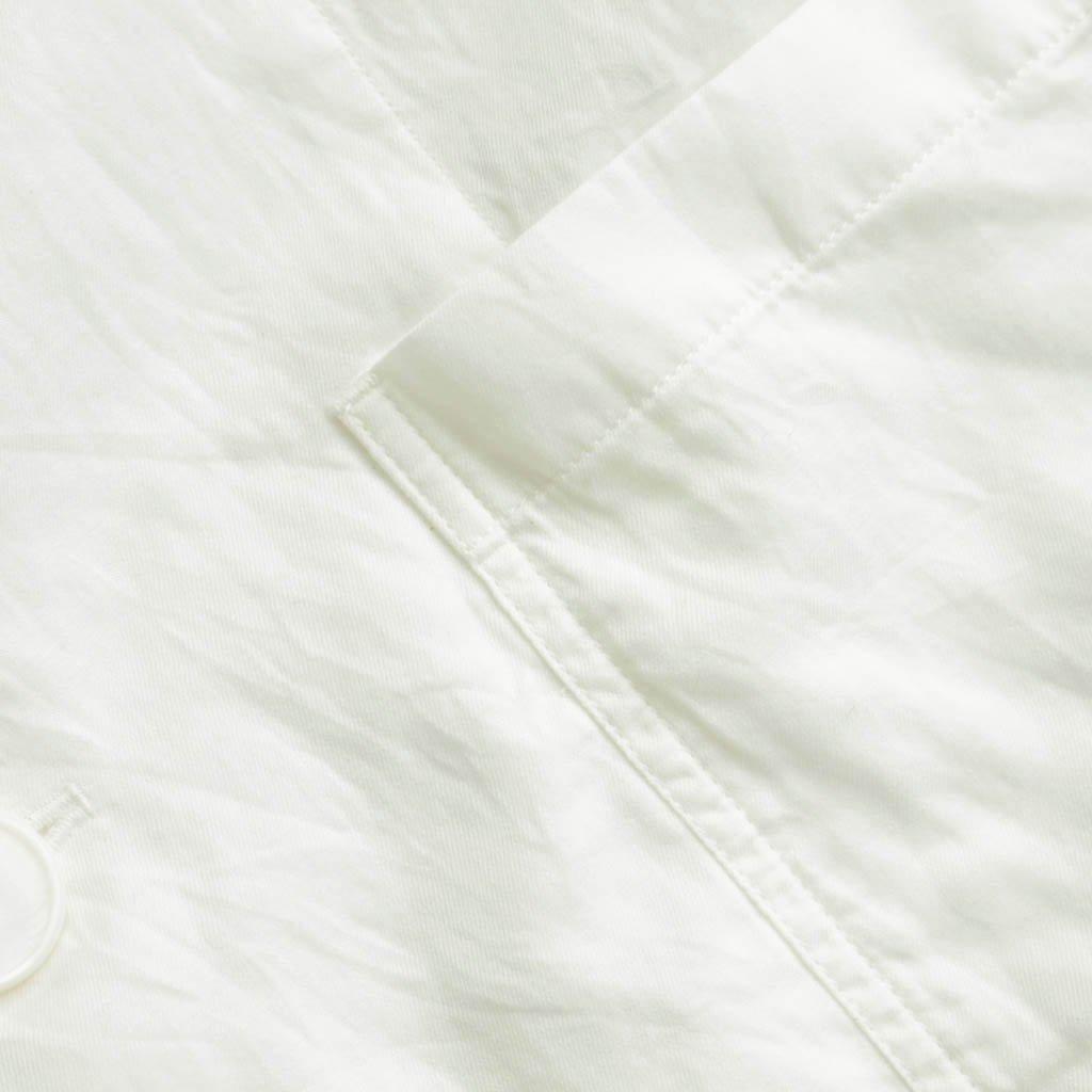 FIRMUM | フィルマム FNLCD|キュプラ&コットンデニムツイルノーカラーカーディガンコート #white