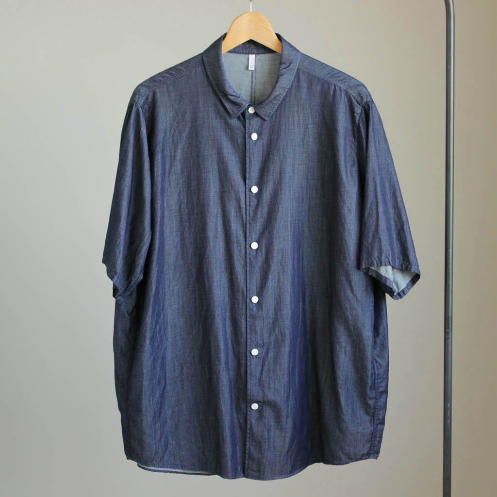 FDSH-S キュプラ&コットンデニムツイルスモールカラーH/Sシャツ #INDIGO BLUE