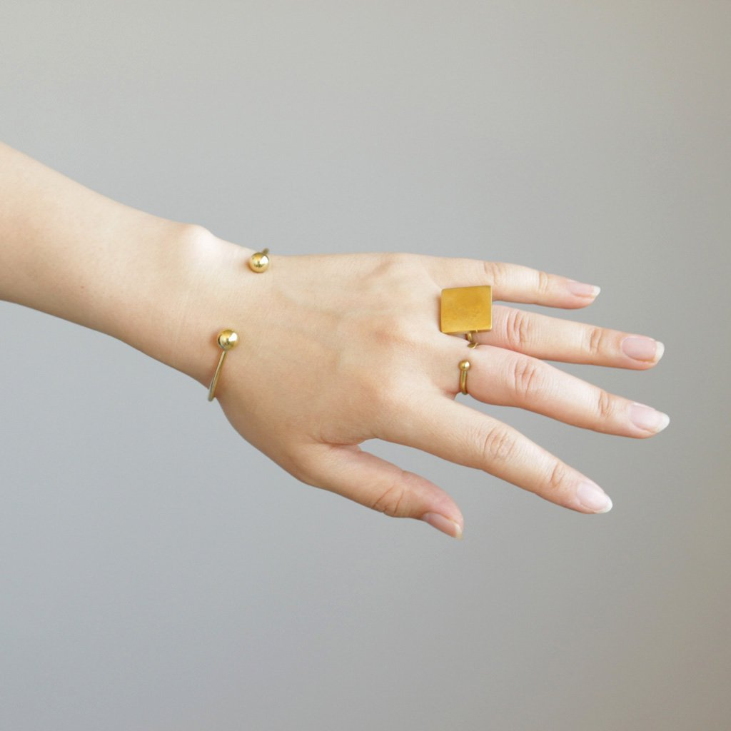 ANOTHER FEATHER | アナザーフェザー PEARL CUFF RING � #BRASS [AF-RI-11]
