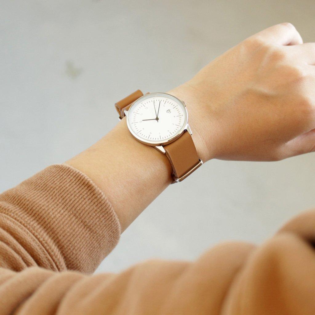 セレクト - 腕時計 HAROLD #BROWN LEATHER STRAP / WHITE DIAL & SILVER [14224DD]