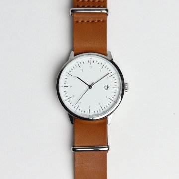 HAROLD #BROWN LEATHER STRAP / WHITE DIAL & SILVER [14224DD]