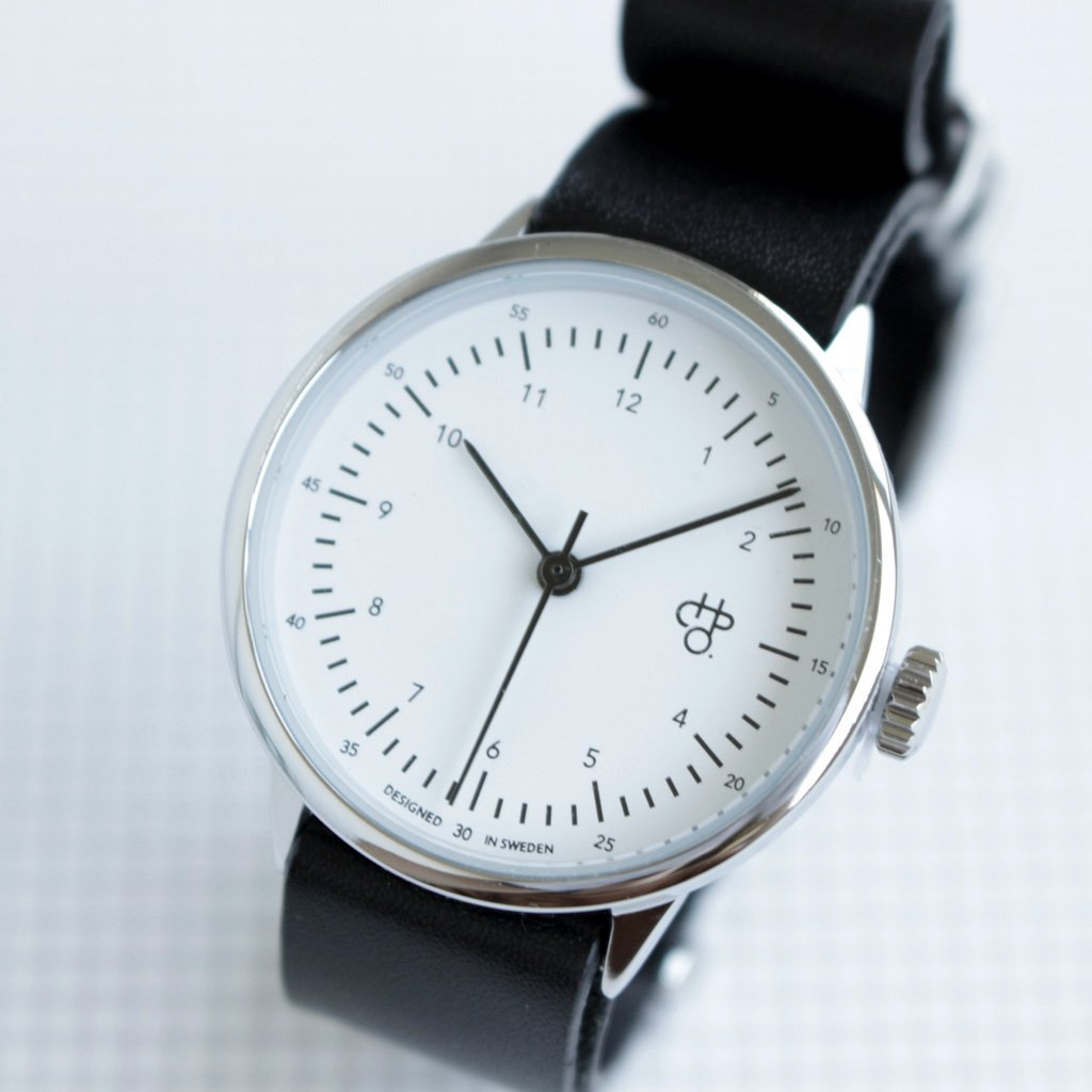 セレクト - 腕時計 HAROLD mini #black leather strap / white dial & silver