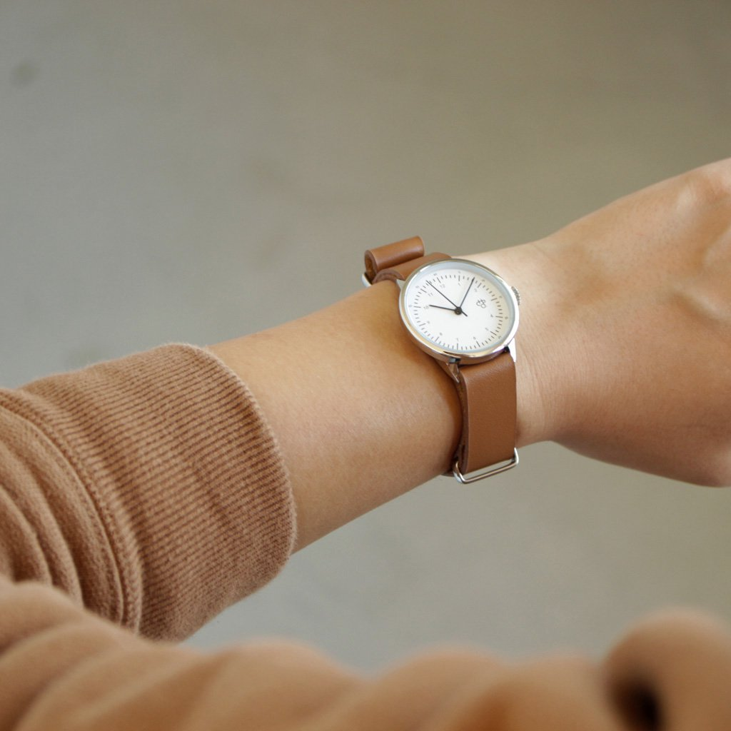 セレクト - 腕時計 HAROLD mini #brown leather strap / white dial & silver