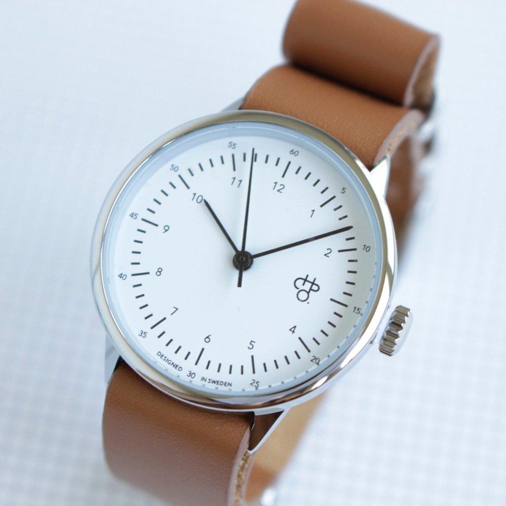 セレクト - 腕時計 HAROLD MINI #BROWN LEATHER STRAP / WHITE DIAL & SILVER [14228AA]