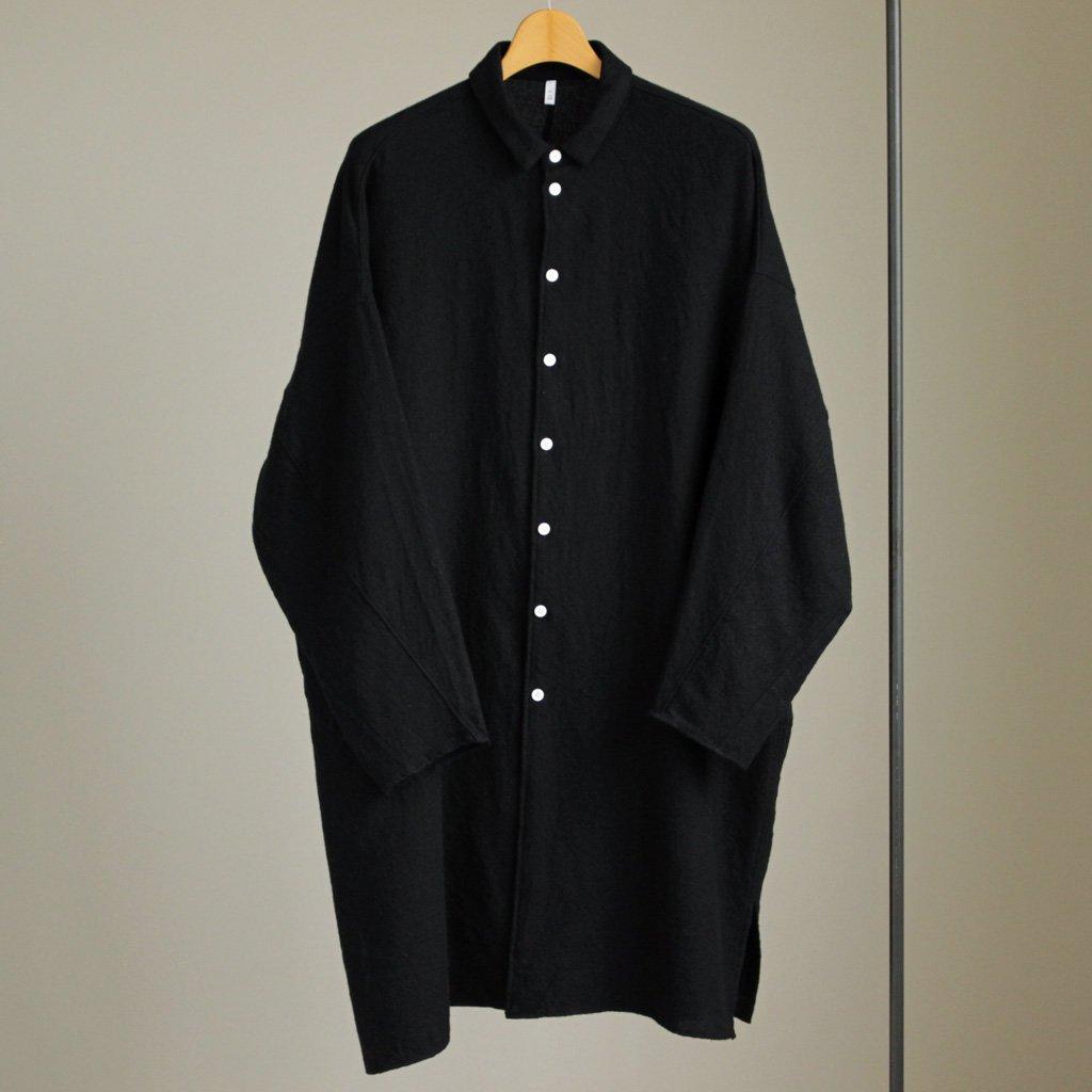 FIRMUM | フィルマム FBGSH|梳毛トップウール縮絨ガーゼツイルビッグシャツワンピース #black